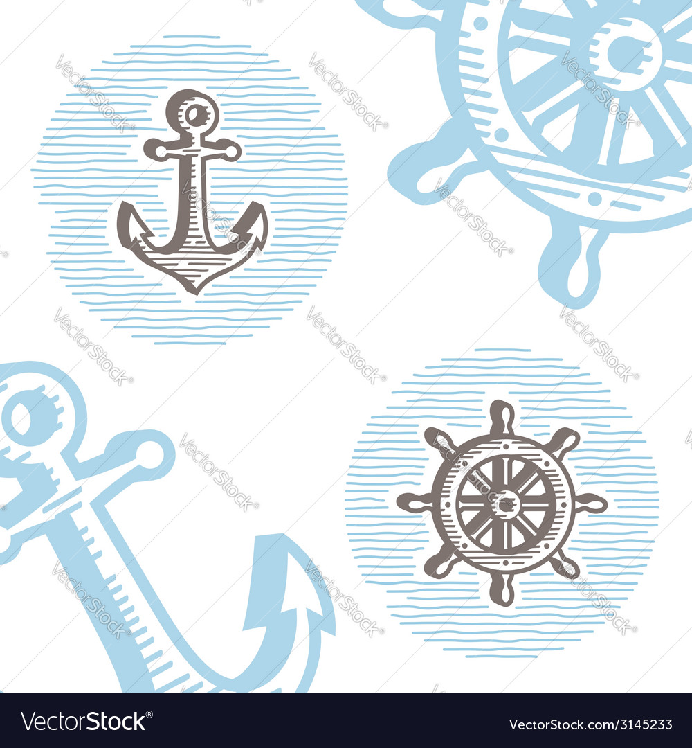 Vintage marine symbols icon set engraving anchor vector | Price: 1 Credit (USD $1)
