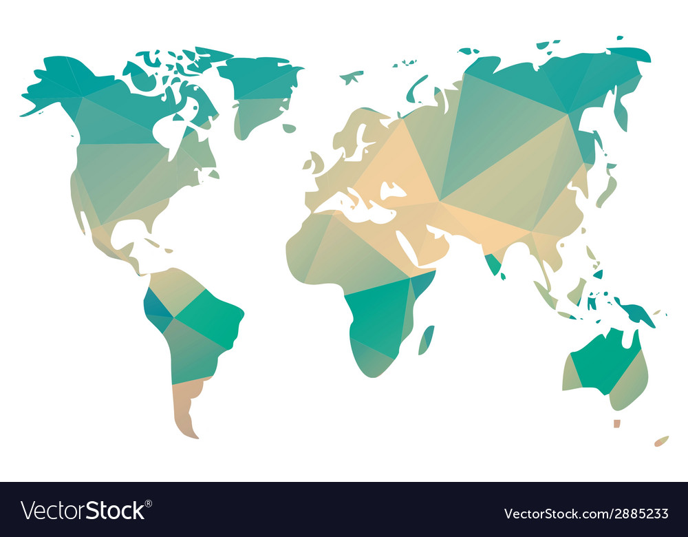 World map in geometric triangle pattern design vector | Price: 1 Credit (USD $1)