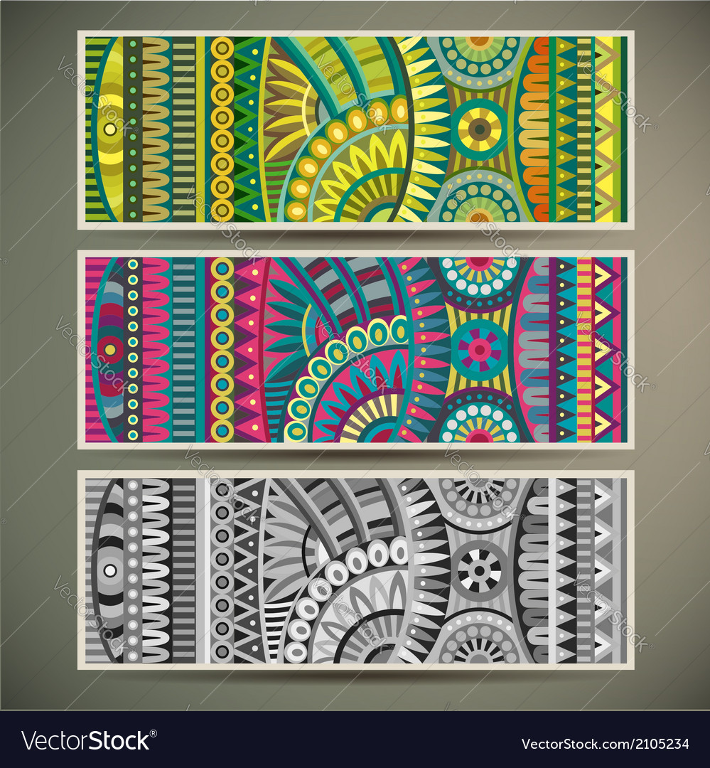Abstract tribal ethnic background set vector | Price: 1 Credit (USD $1)