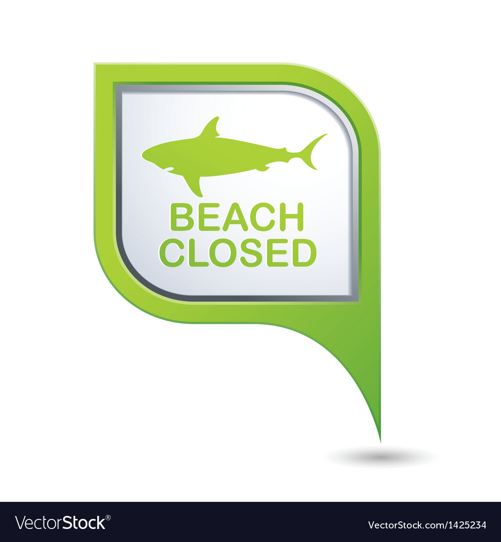 Beach closed shark sighting sign on map pointer vector | Price: 1 Credit (USD $1)