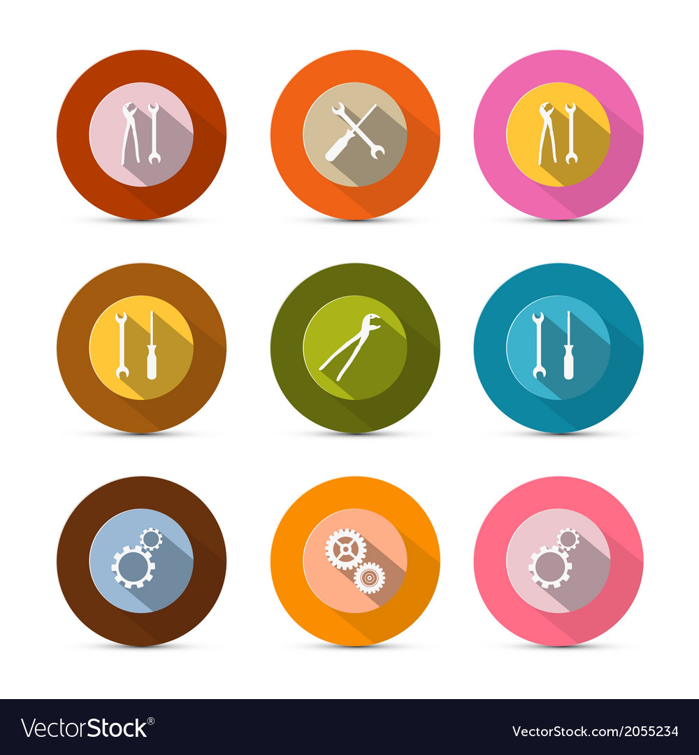 Circle tools icons isolated on white background vector | Price: 1 Credit (USD $1)