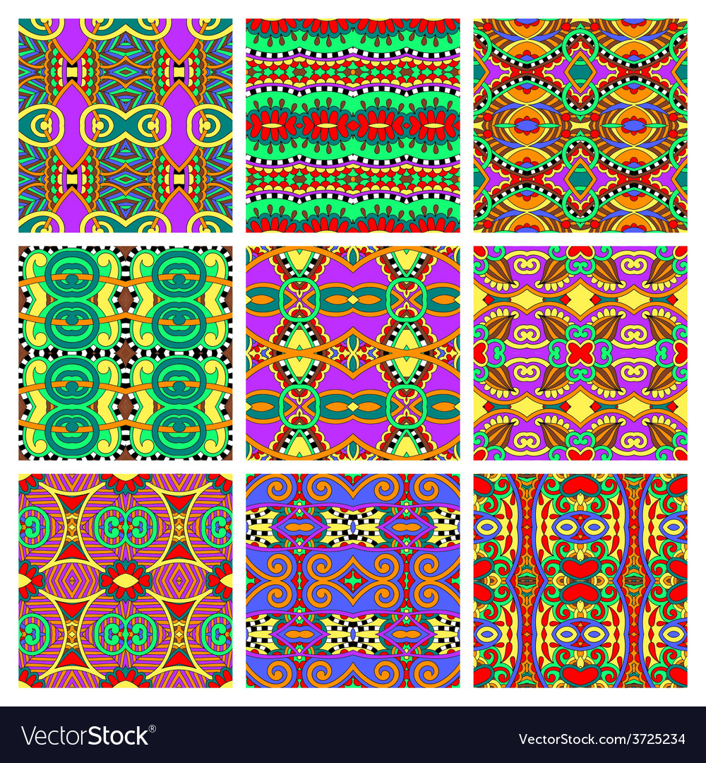 Different seamless colored vintage geometric vector | Price: 1 Credit (USD $1)