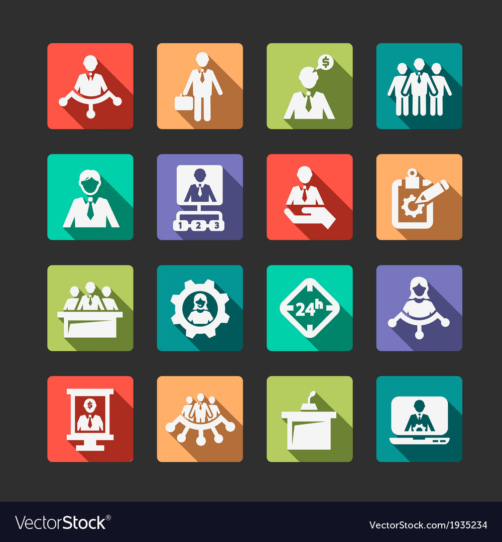 Flat human resources and management icons vector | Price: 1 Credit (USD $1)