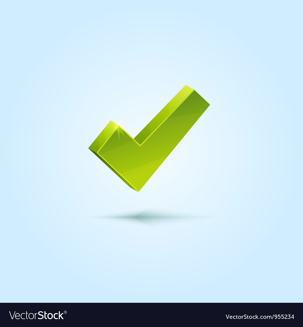 Green check mark isolated on blue background vector | Price: 1 Credit (USD $1)
