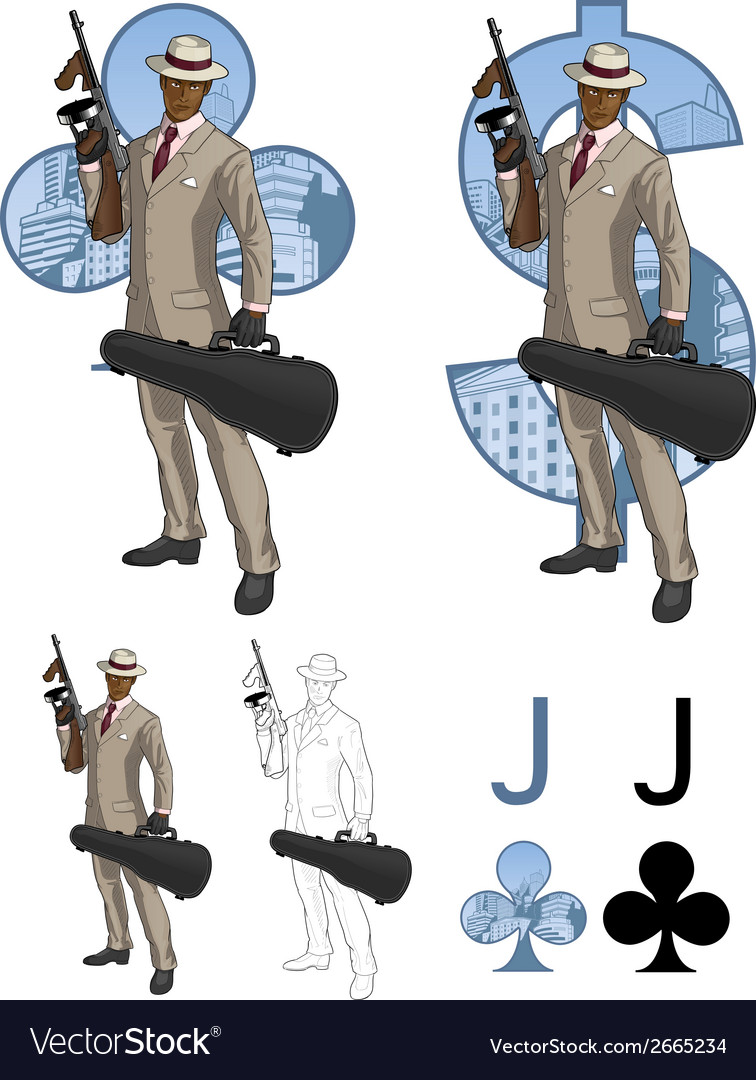 Jack of clubs afroamerican mafioso with tommy-gun vector | Price: 3 Credit (USD $3)