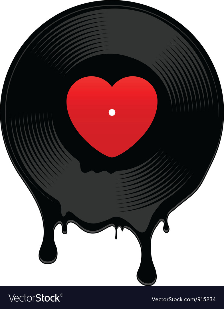 Melted vinyl record with heart vector | Price: 1 Credit (USD $1)