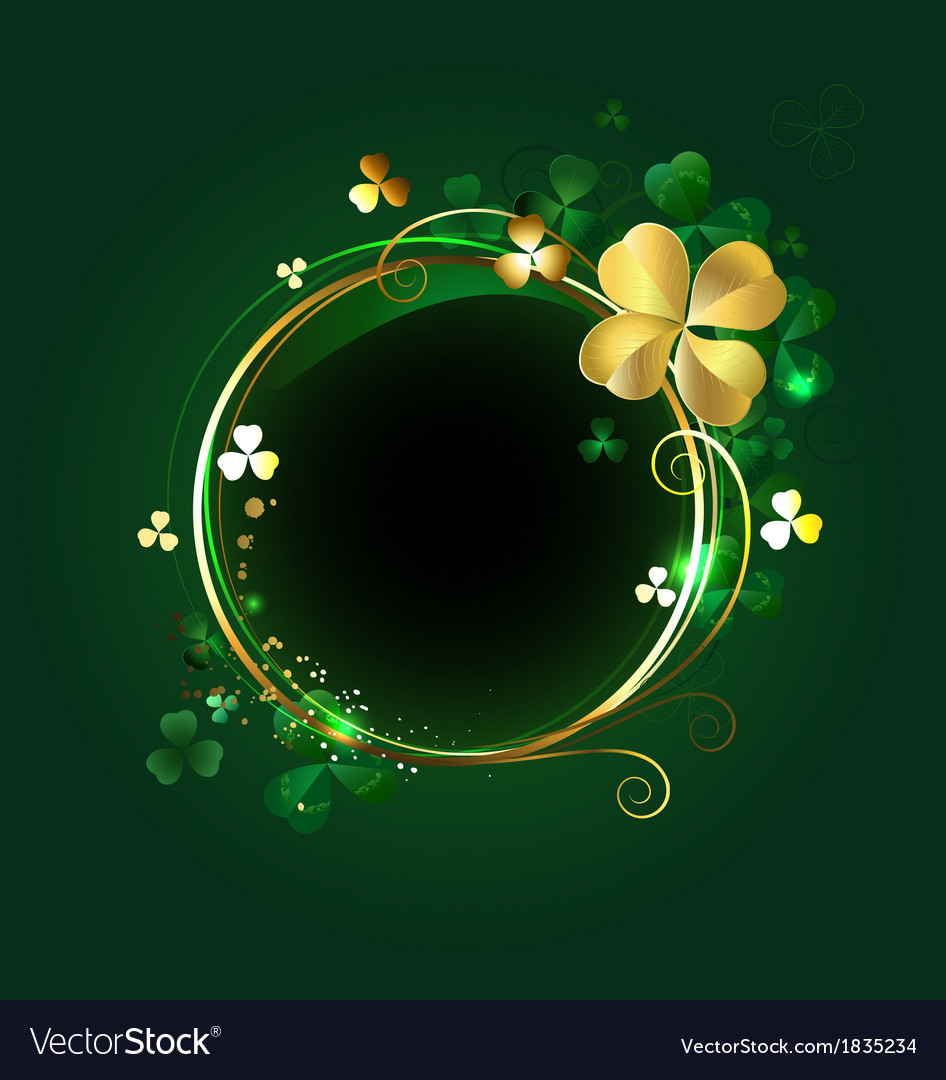Round banner with clover vector | Price: 1 Credit (USD $1)