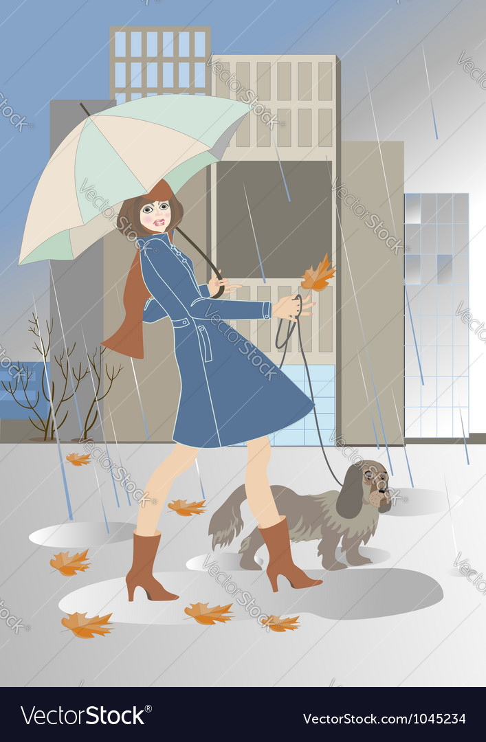 Young woman walking with a dog in the rain vector | Price: 1 Credit (USD $1)