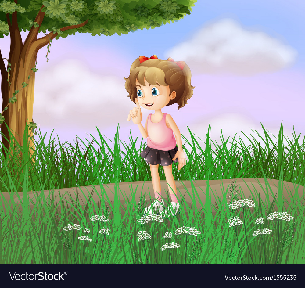 A cute little girl walking in the street vector   Price: 3 Credit (USD $3)