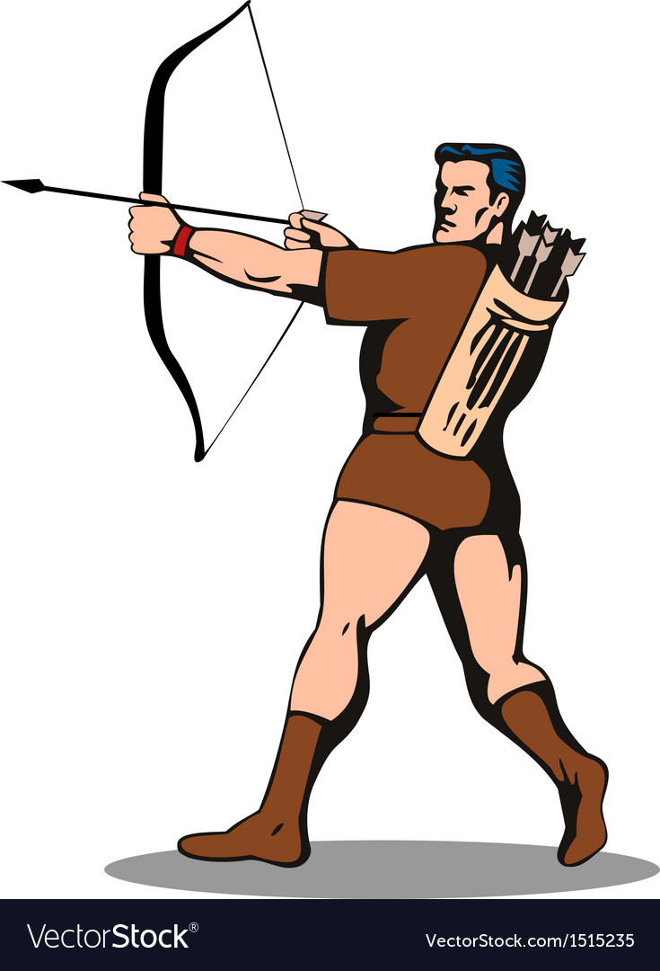 Archer shooting arrow vector | Price: 1 Credit (USD $1)
