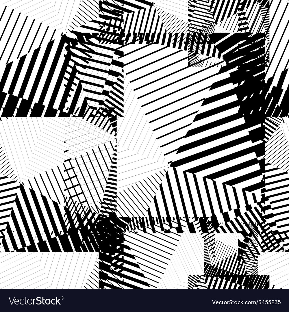 Black and white abstract lines seamless pattern vector | Price: 1 Credit (USD $1)