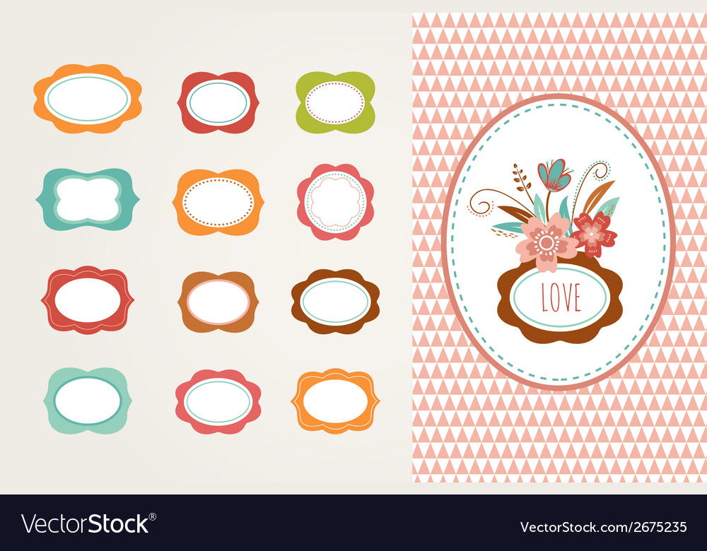 Flowers with frames - collection vector | Price: 1 Credit (USD $1)