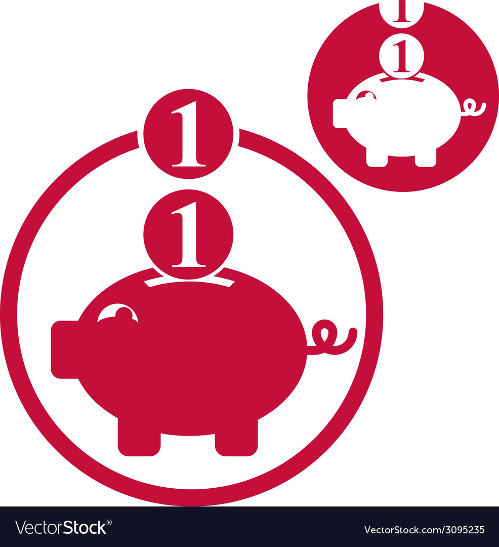 Piggy bank coins cash money savings theme simple vector | Price: 1 Credit (USD $1)