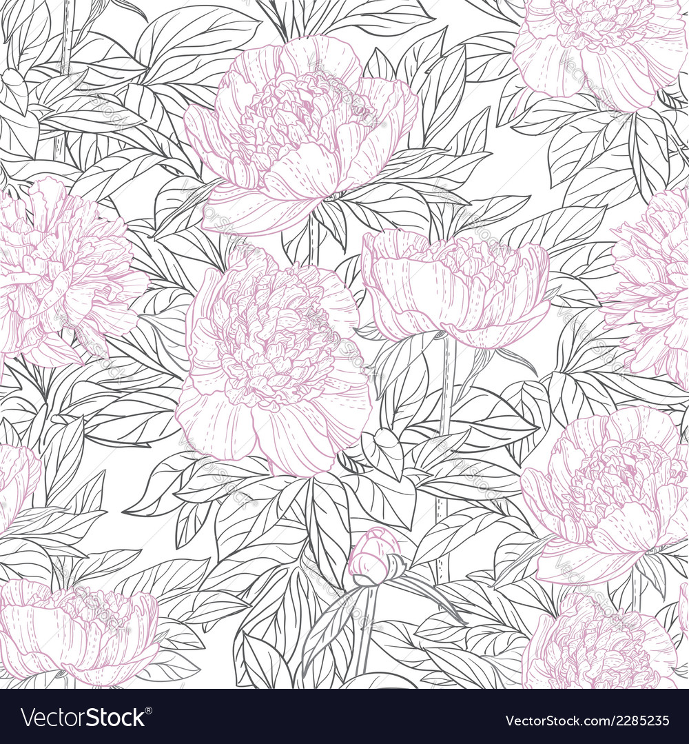Seamless pattern of pink flowers peonies graphics vector | Price: 1 Credit (USD $1)