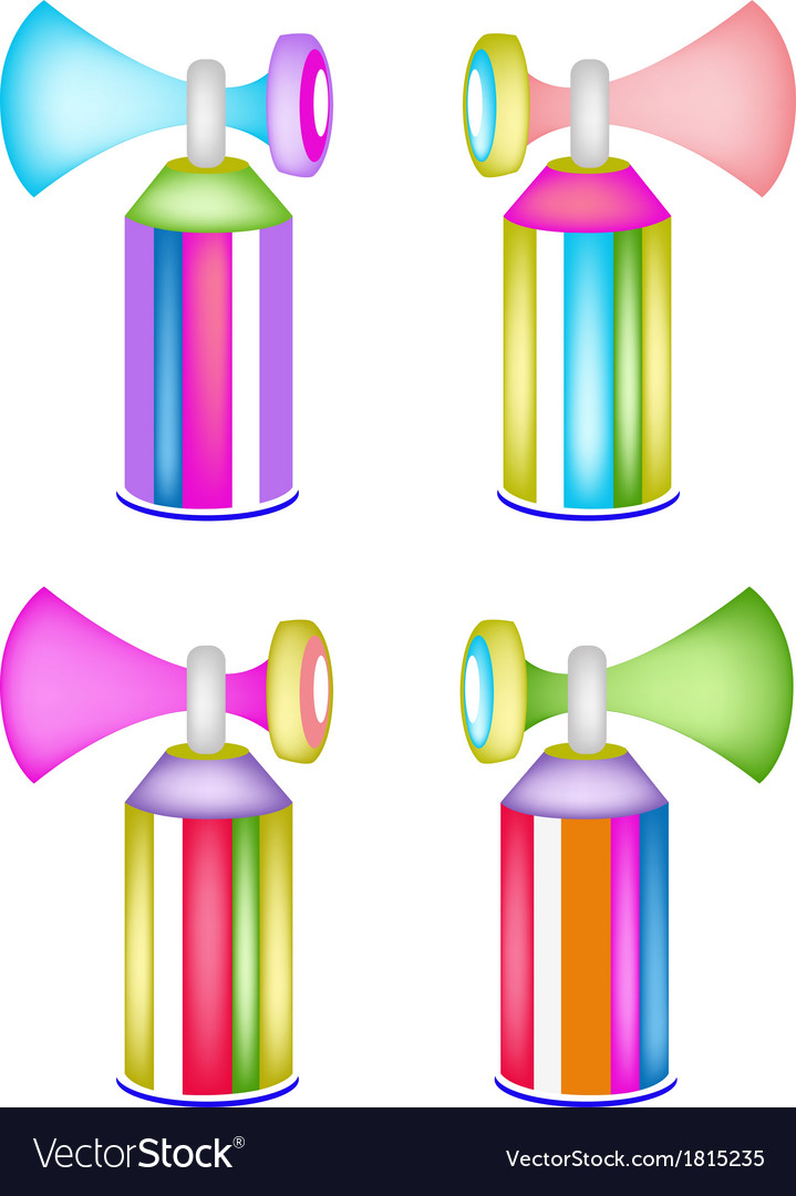 Set of colorful air horn on whit background vector | Price: 1 Credit (USD $1)