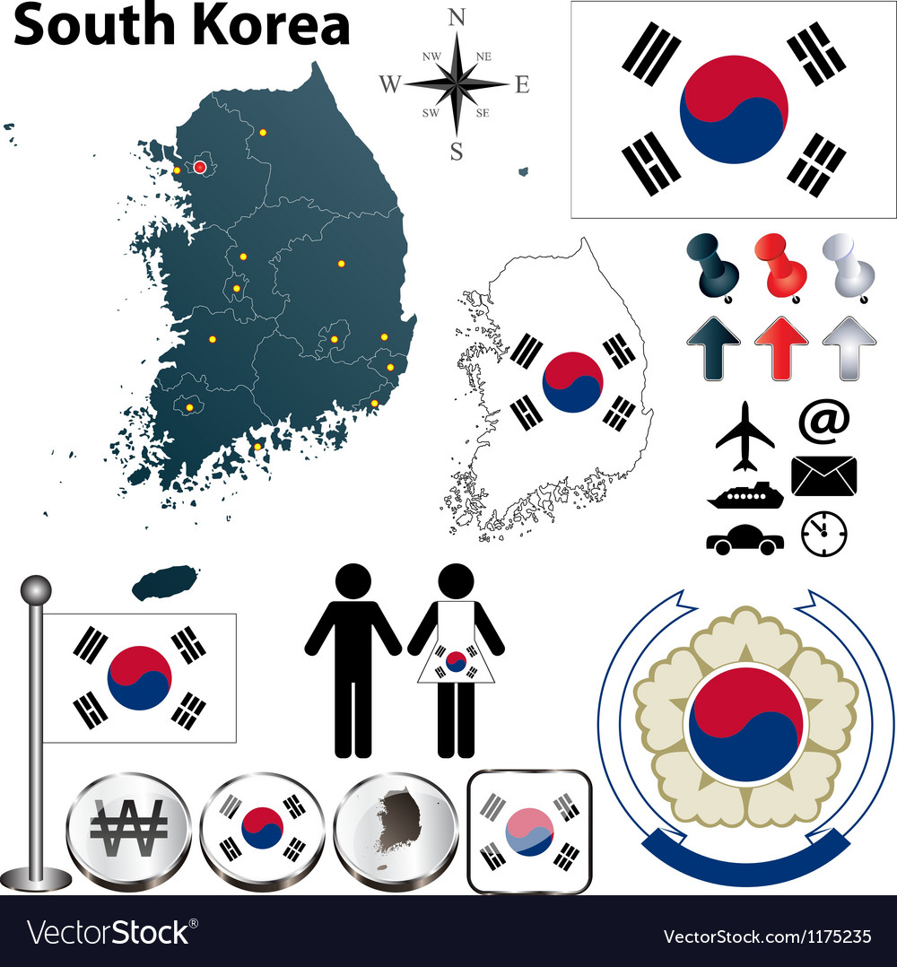 South korea map vector | Price: 1 Credit (USD $1)
