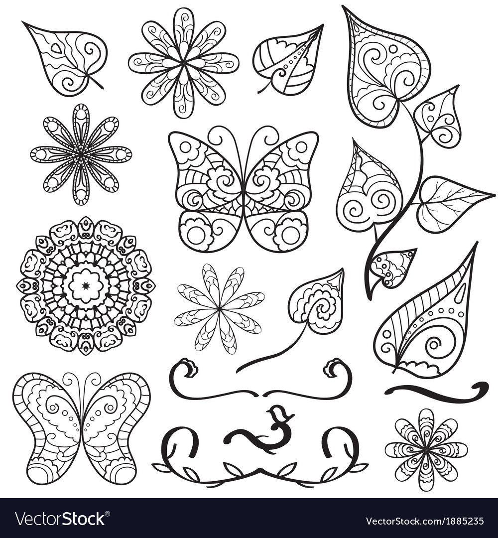 Summer hand drawn elements set vector | Price: 1 Credit (USD $1)