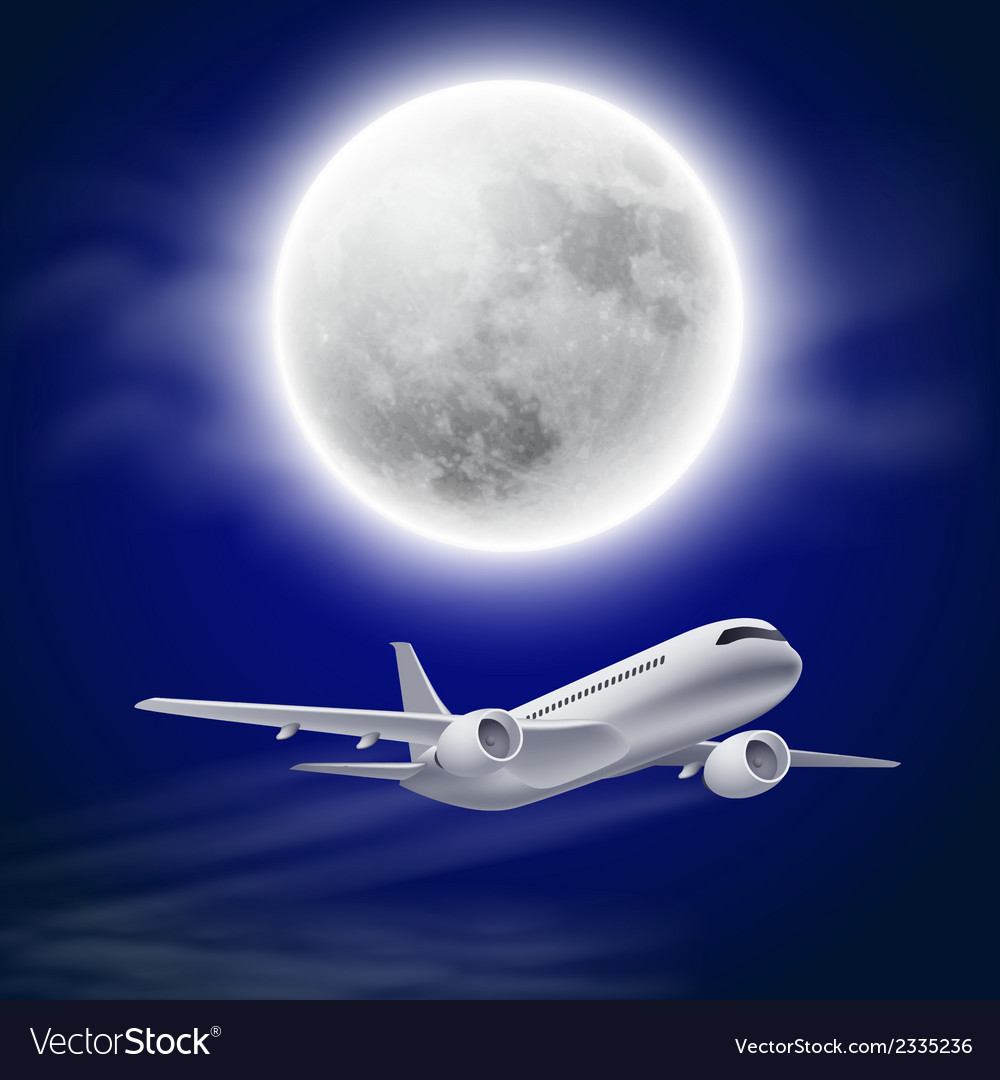Airplane in the night sky with moon vector | Price: 1 Credit (USD $1)