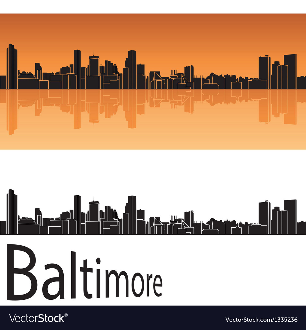 Baltimore skyline in orange background vector | Price: 1 Credit (USD $1)