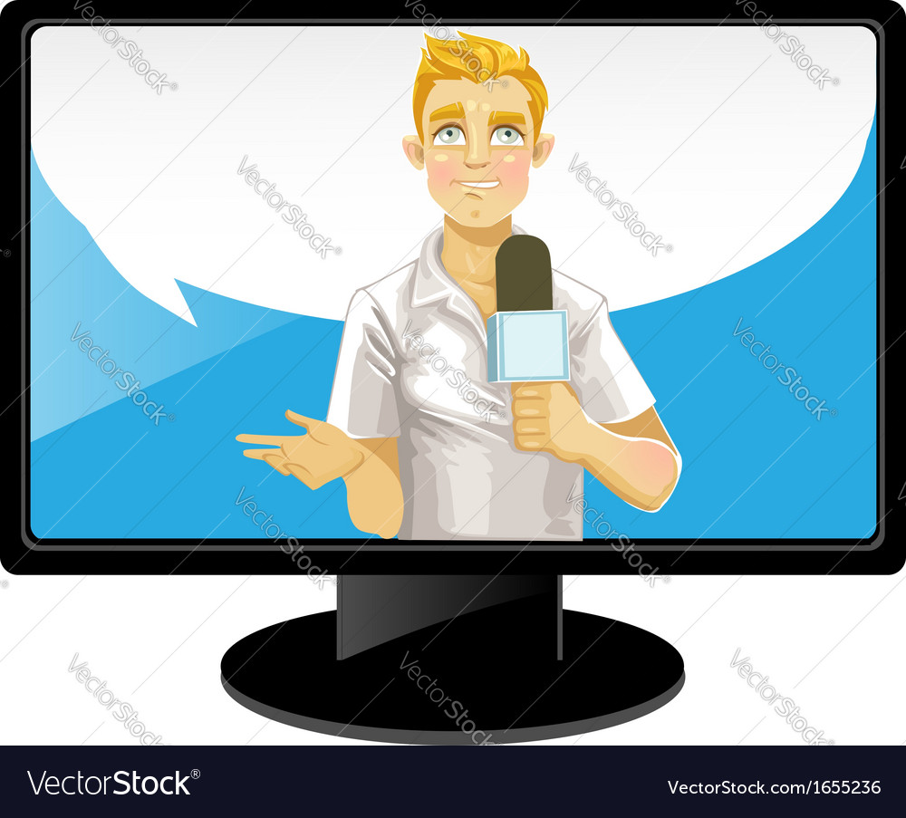 Blond reporter boy with speach bubble on tv vector | Price: 3 Credit (USD $3)