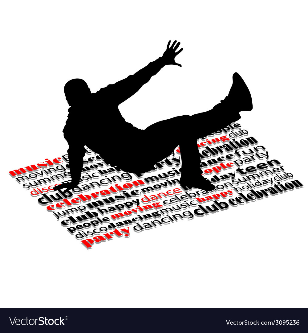 Break dance man on word vector | Price: 1 Credit (USD $1)
