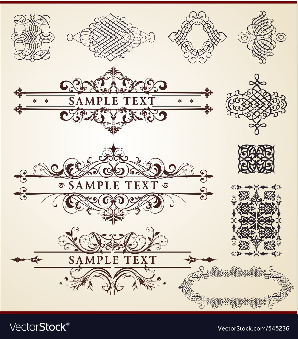 Calligraphic design set vector | Price: 1 Credit (USD $1)
