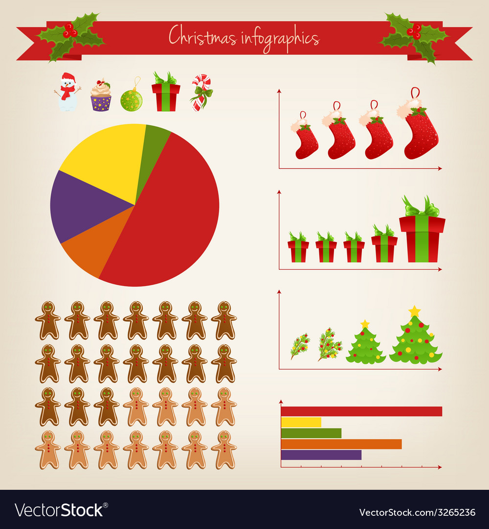 Cute christmas infographics vector | Price: 1 Credit (USD $1)