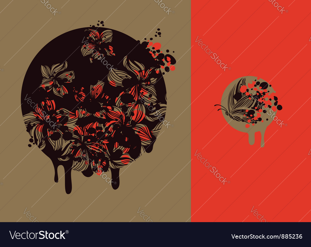 Flowers and butterflies vector | Price: 1 Credit (USD $1)