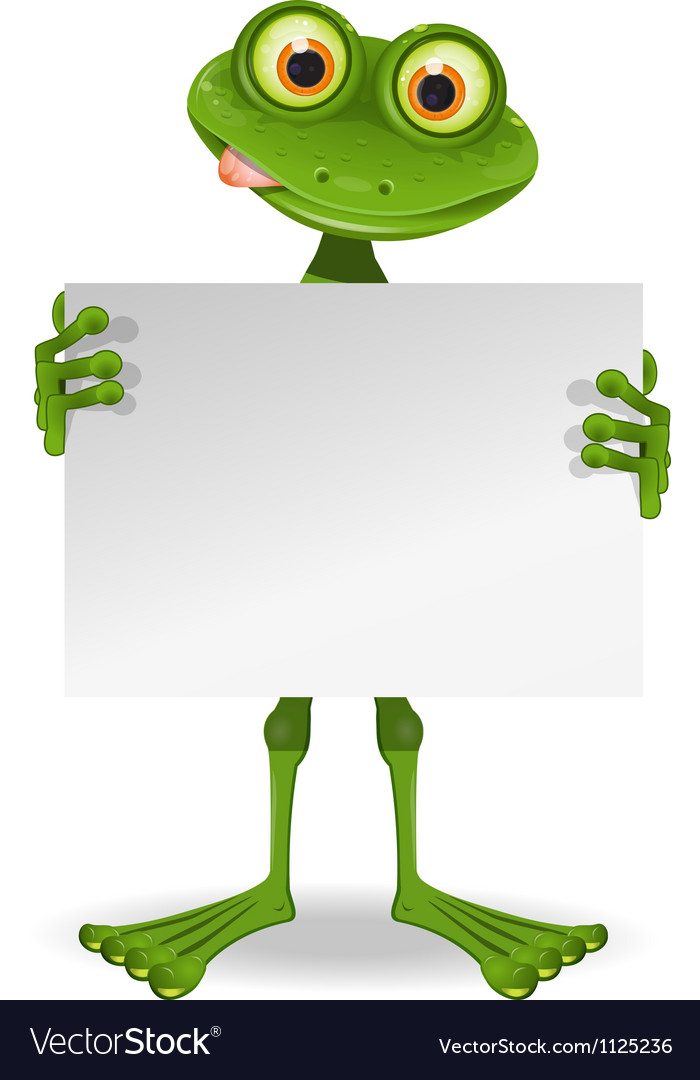 Frog with a white paper vector   Price: 1 Credit (USD $1)