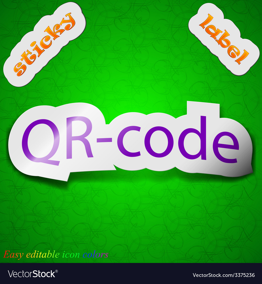 Qr code icon sign symbol chic colored sticky label vector | Price: 1 Credit (USD $1)