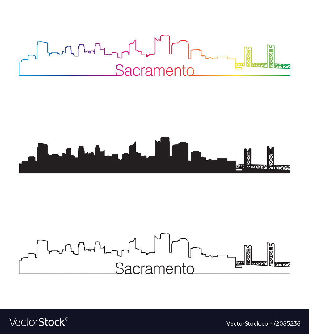 Sacramento skyline linear style with rainbow vector | Price: 1 Credit (USD $1)