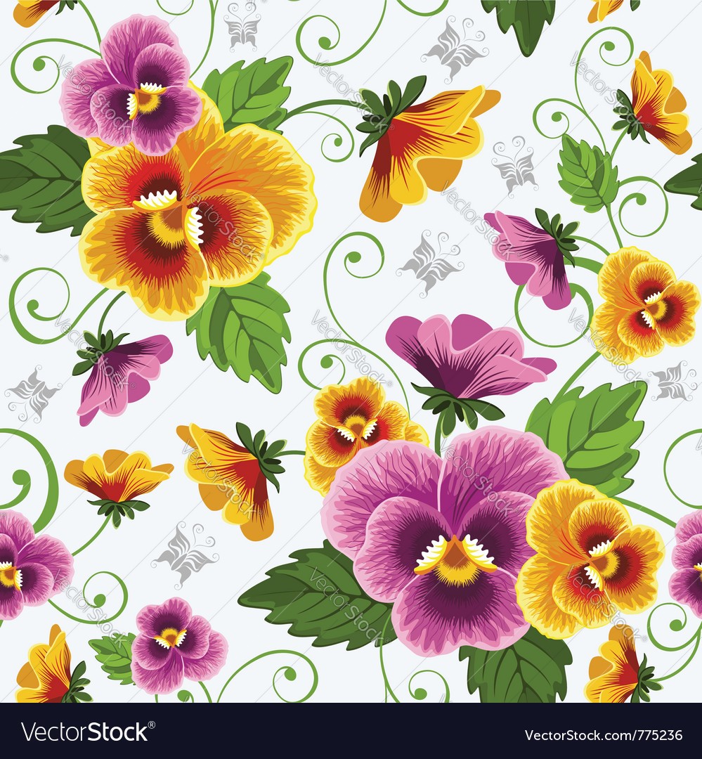 Seamless background with pansy vector | Price: 1 Credit (USD $1)