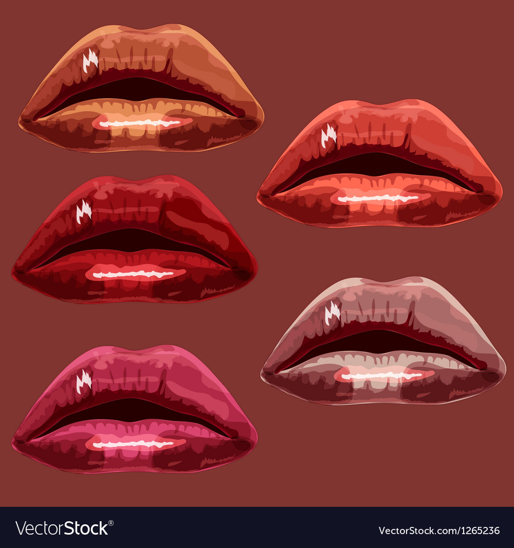 Set red the girl of lips a vector | Price: 1 Credit (USD $1)