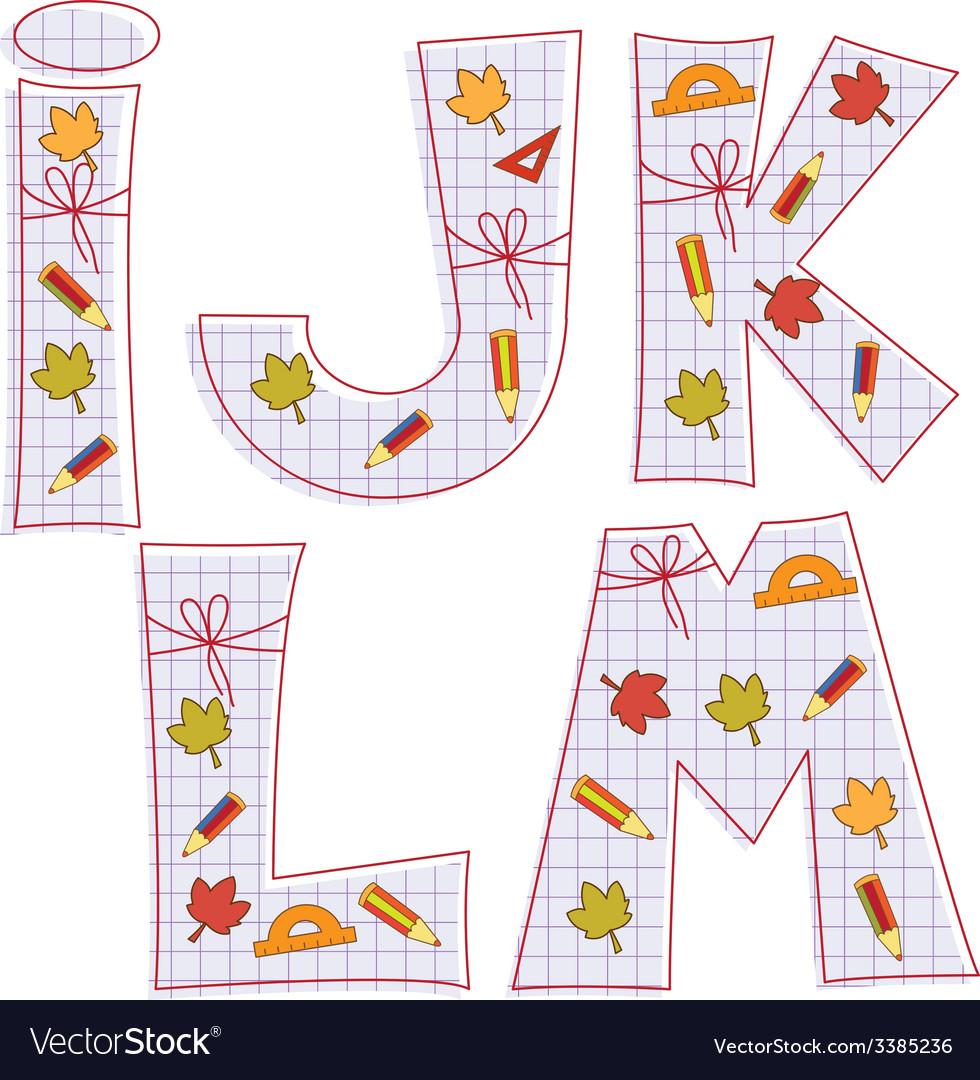 Sheet alphabet letter i j k l m vector | Price: 1 Credit (USD $1)
