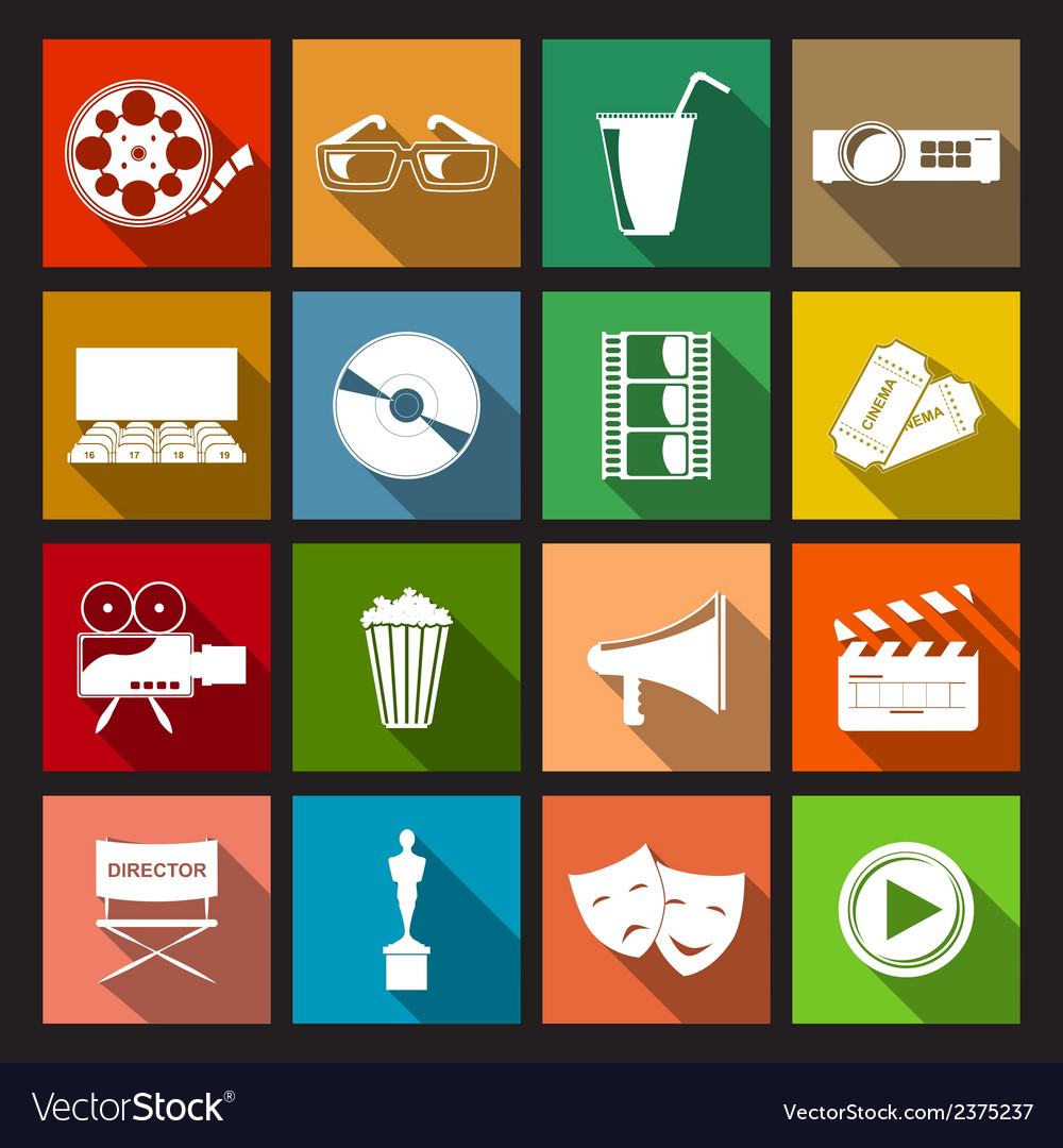 Cinema icons flat vector | Price: 1 Credit (USD $1)