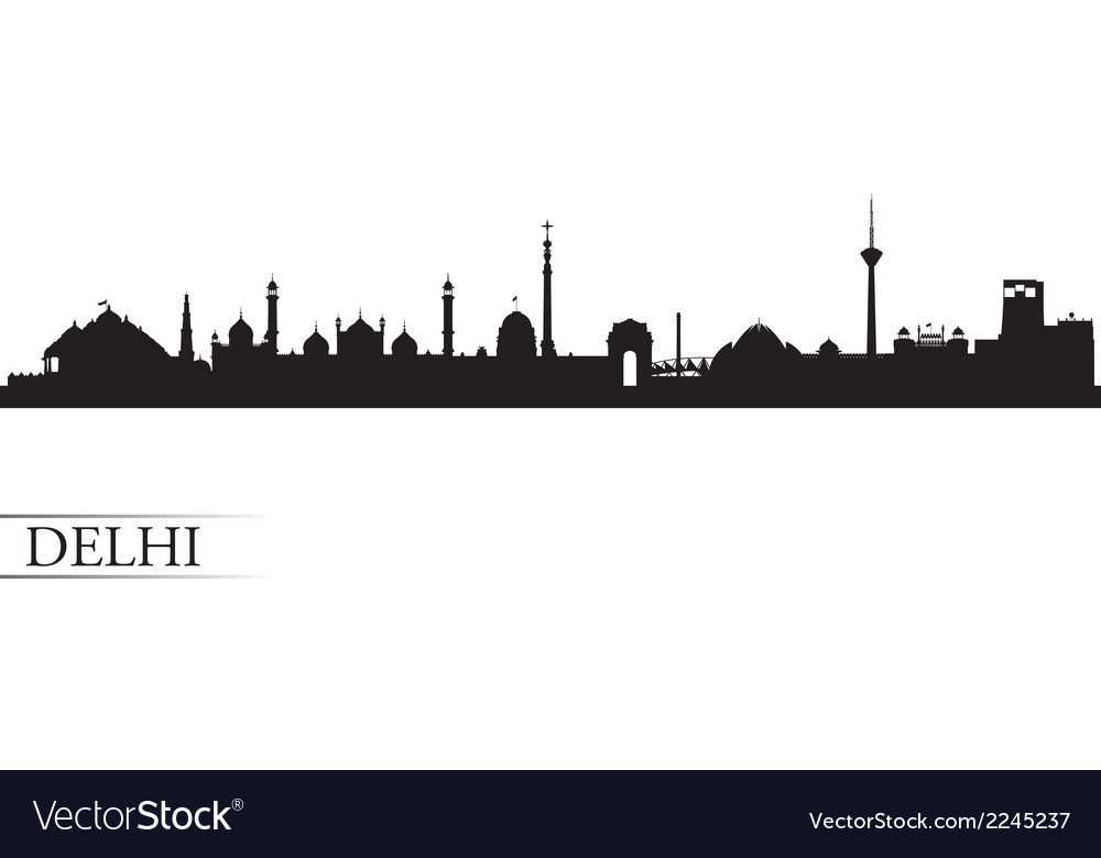 Delhi city skyline silhouette background vector | Price: 1 Credit (USD $1)