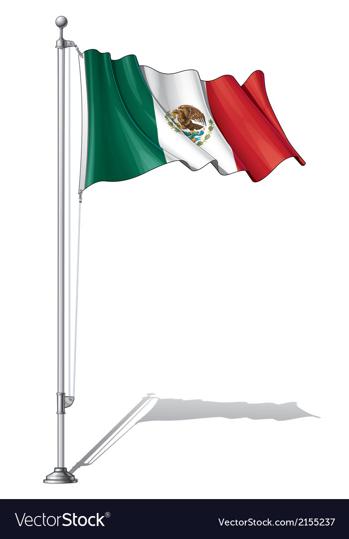 Flag pole mexico vector | Price: 1 Credit (USD $1)