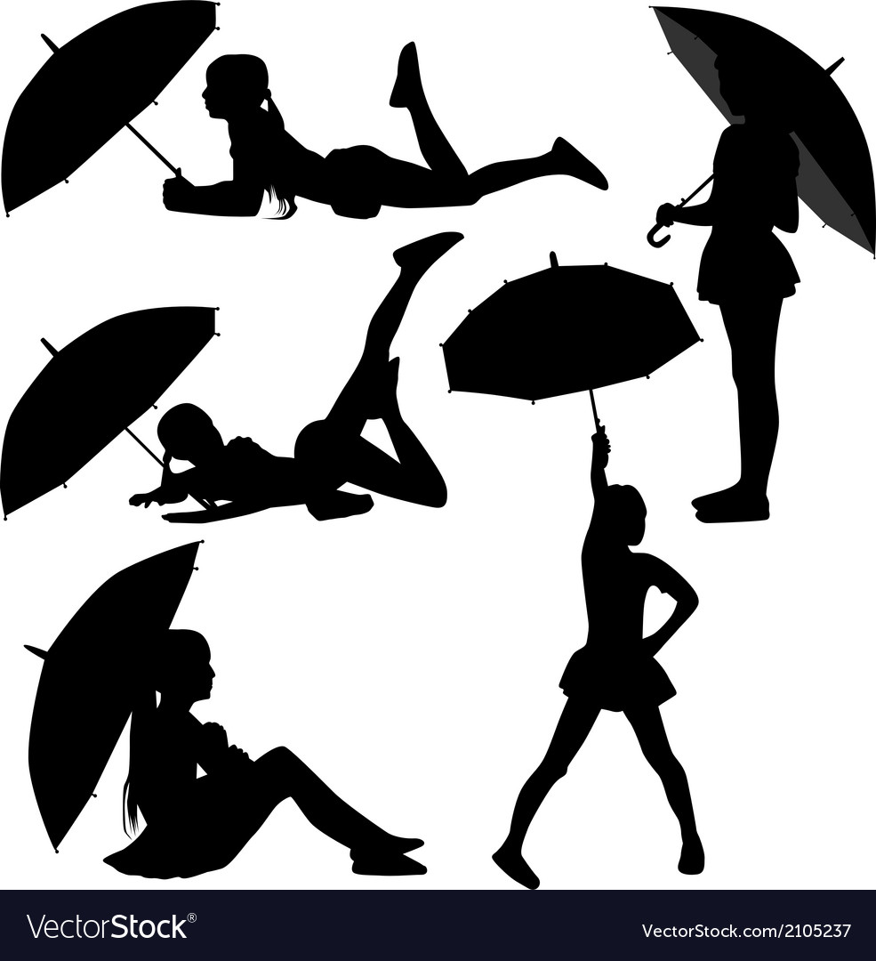 Girl dance with umbrella vector | Price: 1 Credit (USD $1)