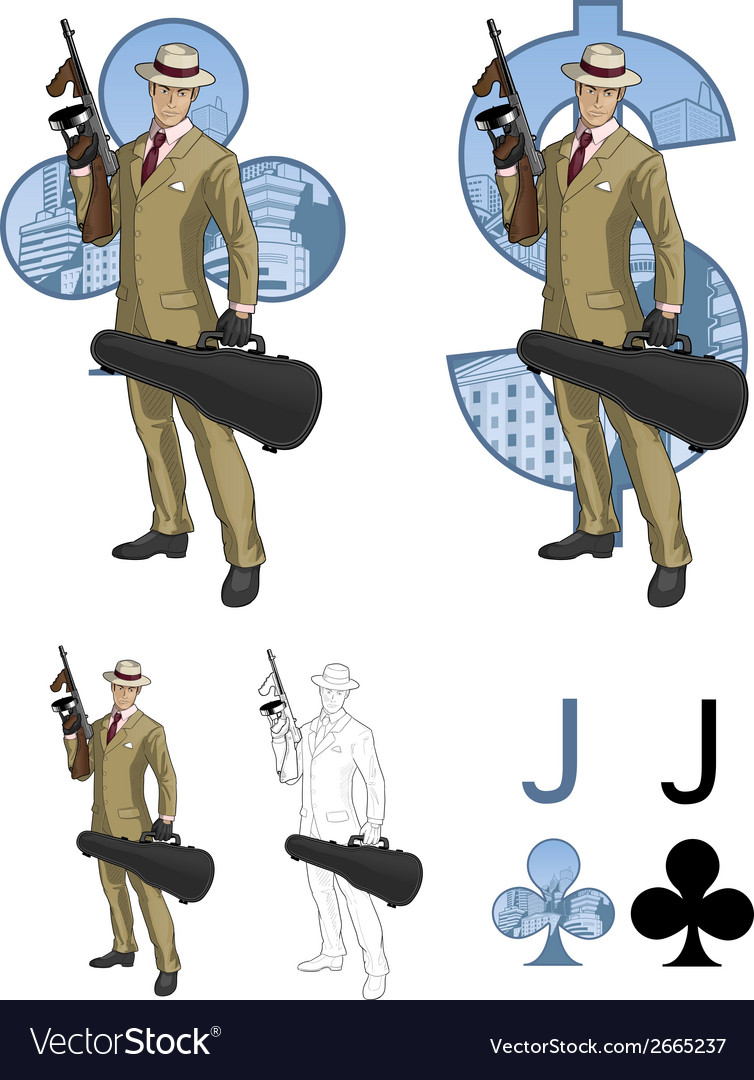 Jack of clubs hispanic mafioso with tommy-gun vector | Price: 3 Credit (USD $3)
