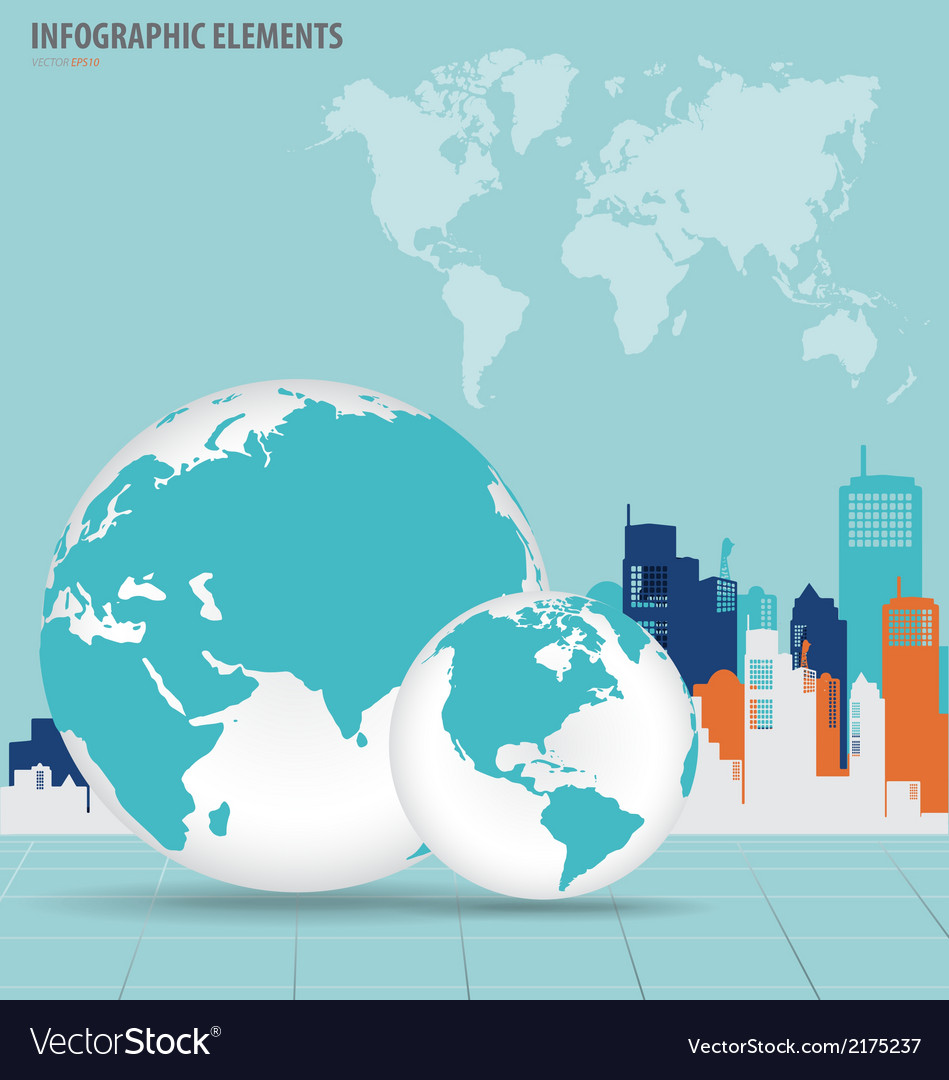 Modern globe with building background vector | Price: 1 Credit (USD $1)