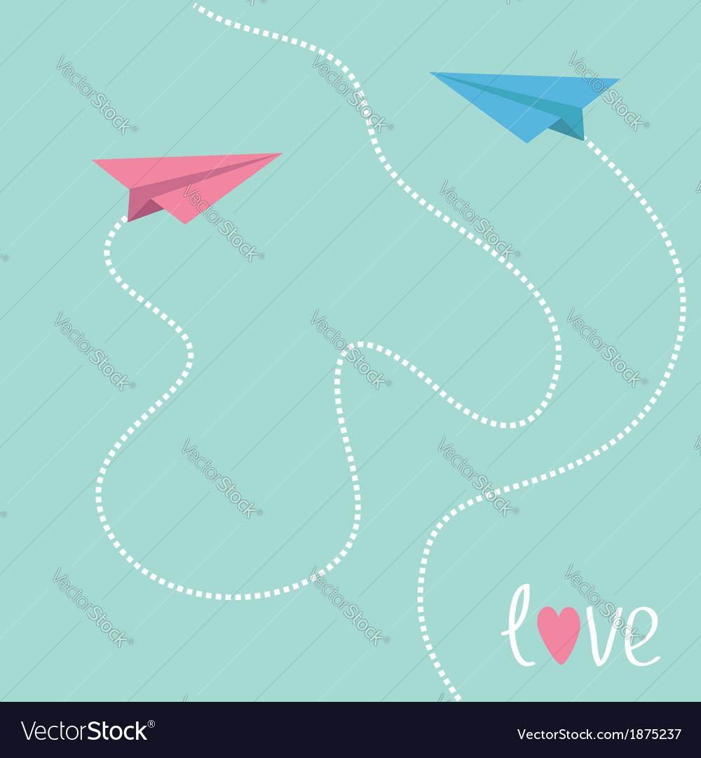 Pink and blue origami paper planes love card vector | Price: 1 Credit (USD $1)