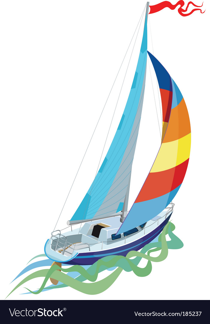 Sail yacht vector | Price: 1 Credit (USD $1)