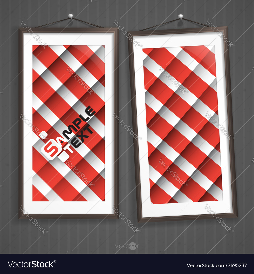 Two frames of picture on a striped old wall vector   Price: 1 Credit (USD $1)