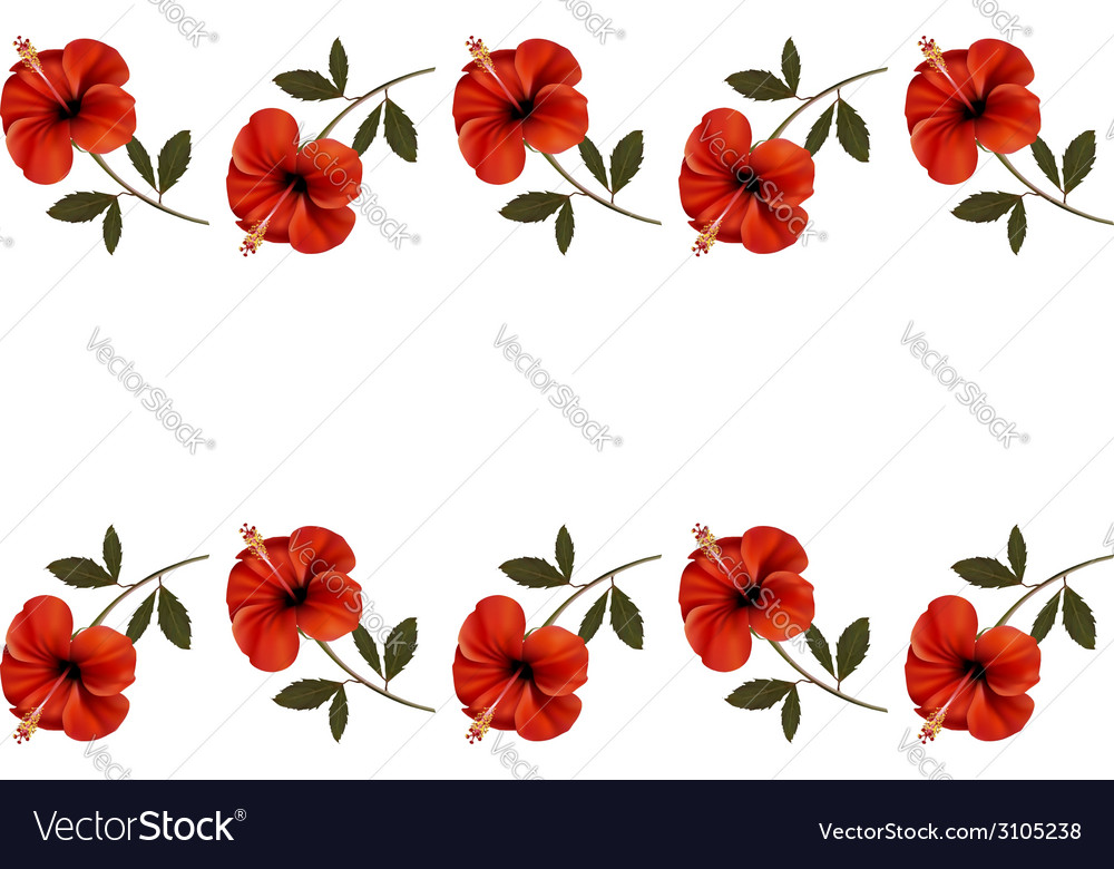 Background with a border of red flowers vector | Price: 1 Credit (USD $1)