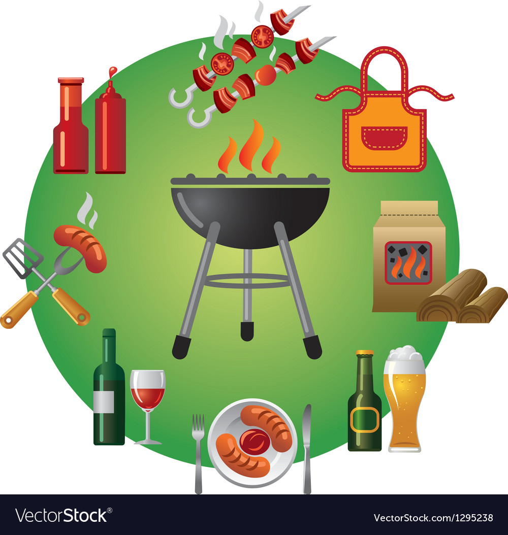 Barbecue icon set vector | Price: 3 Credit (USD $3)
