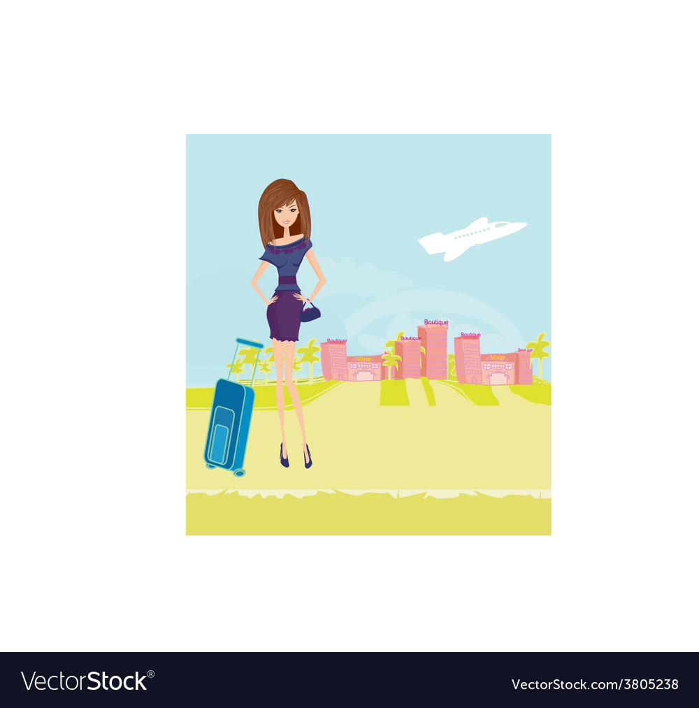 Beauty travel girl with baggage vector   Price: 1 Credit (USD $1)