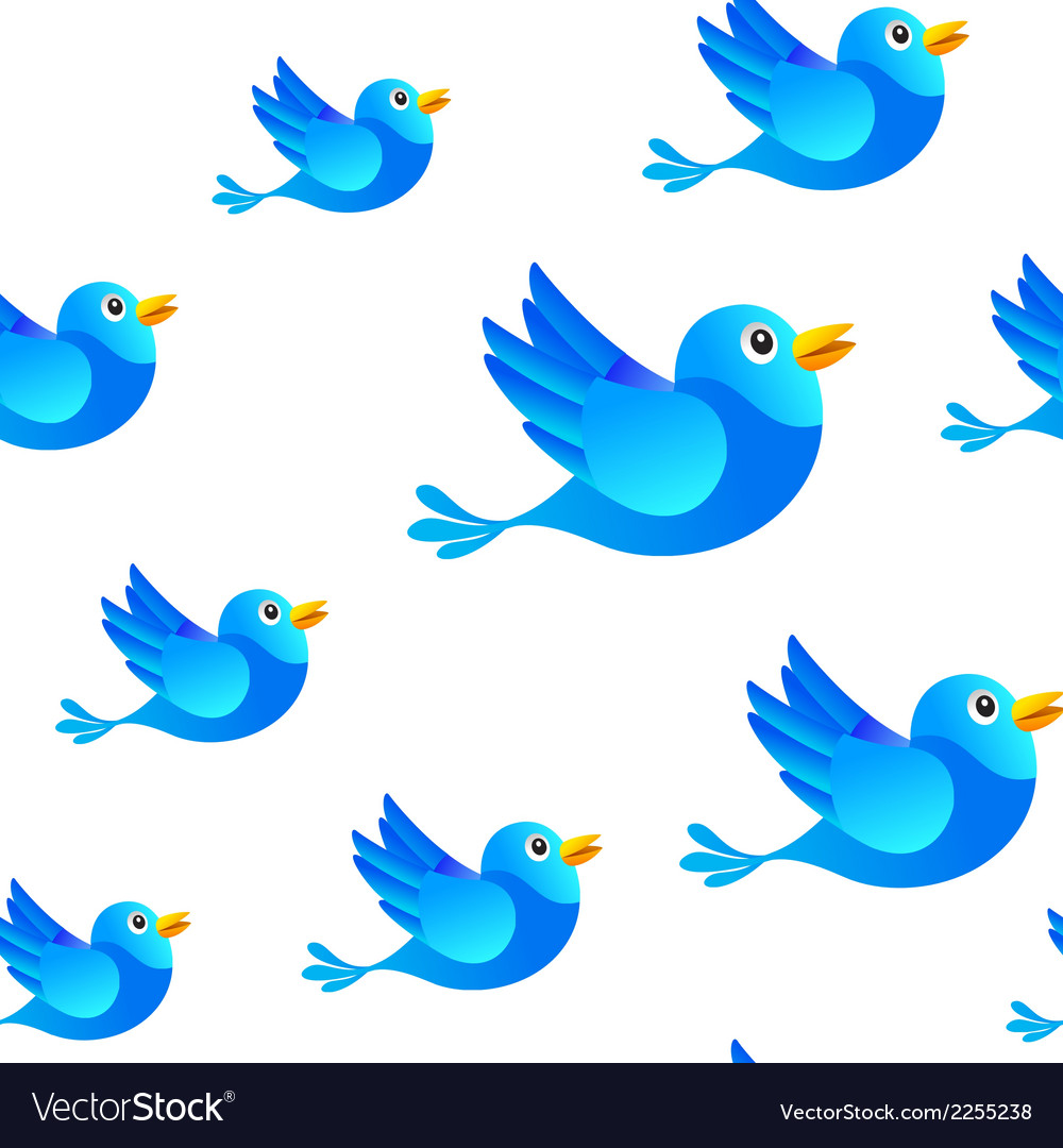 Blue bird social media seamless background vector | Price: 1 Credit (USD $1)