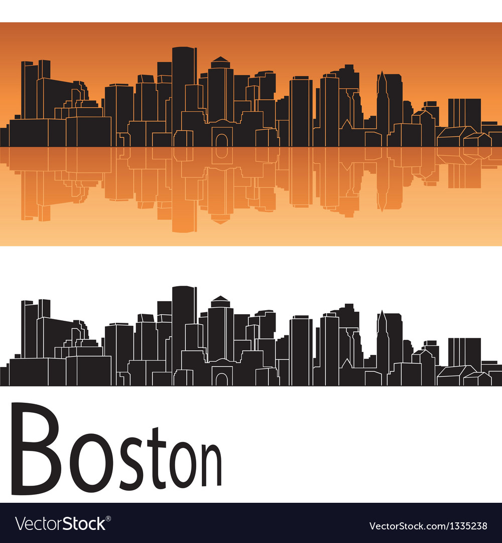 Boston skyline in orange background vector | Price: 1 Credit (USD $1)