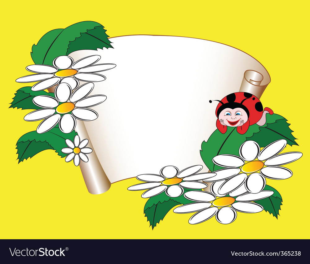 Card with daisies and ladybug vector | Price: 1 Credit (USD $1)