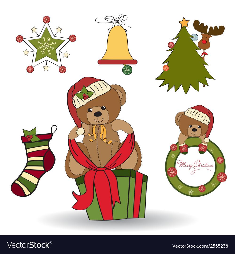 Christmas decoration elements set vector | Price: 1 Credit (USD $1)